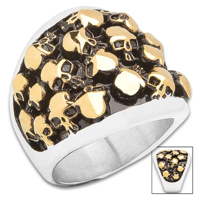 Charnel House Skulls Ring - Stainless Steel Construction, Gold Accents, Remarkable Detail, Corrosion Resistant - Available In Sizes 9-12