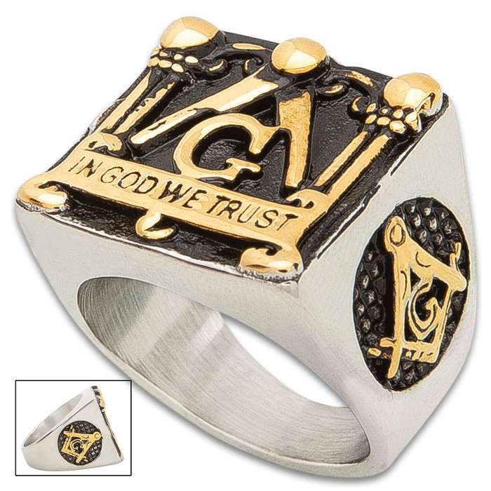 Masonic Heritage Signet Ring - Stainless Steel Construction, Gold Accents, Remarkable Detail, Corrosion Resistant - Available In Sizes 9-12