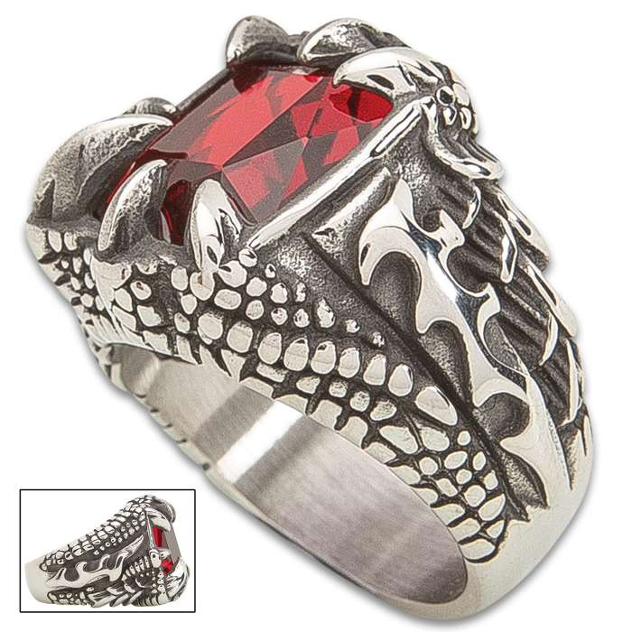 Dragon Claw Ruby Ring - Stainless Steel Construction, Faux Ruby, Remarkable Detail, Corrosion Resistant - Available In Sizes 9-12