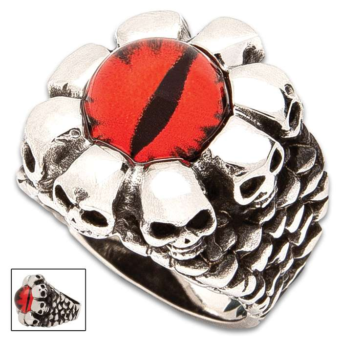 Ruby Red Skull Ring - Stainless Steel Construction, Faux Ruby, Remarkable Detail, Corrosion Resistant