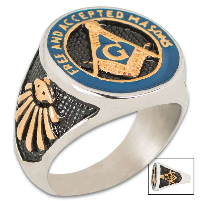 """Beautifully cast and extraordinarily detailed, this ring features the traditional compass and """"G"""" symbol on three sides"""
