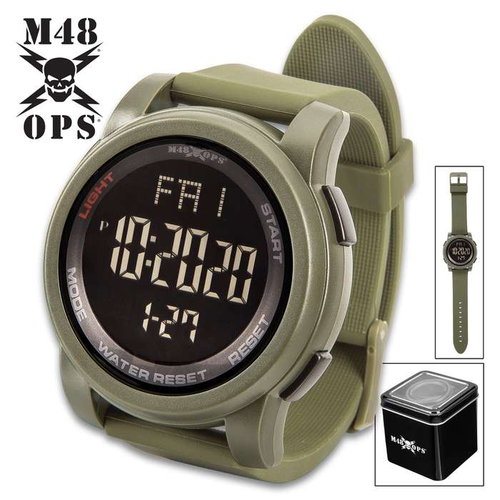 M48 OPS Triggerman Military Digital Watch - Olive Drab, Water-Resistant, EL Light Display, TPU Case, Silica Gel Band, Chronograph