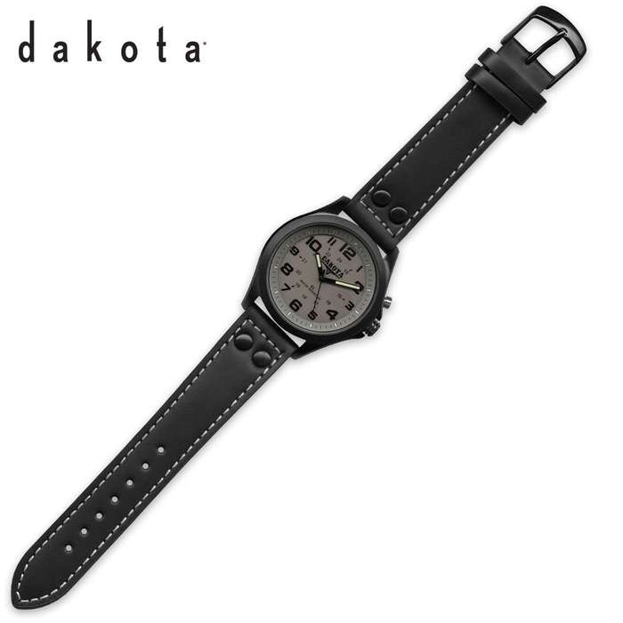 Dakota Stealth Watch Black Leather Strap