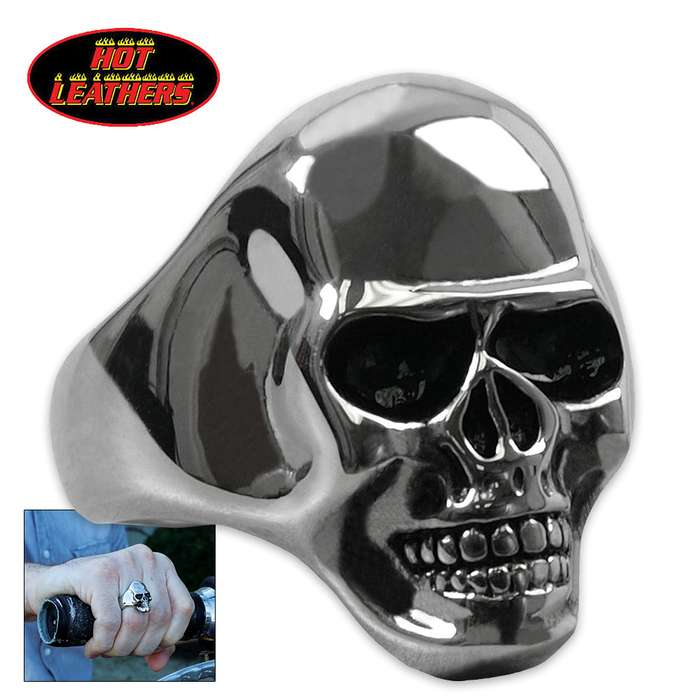 Hot Leathers Smooth Skull Ring Silver