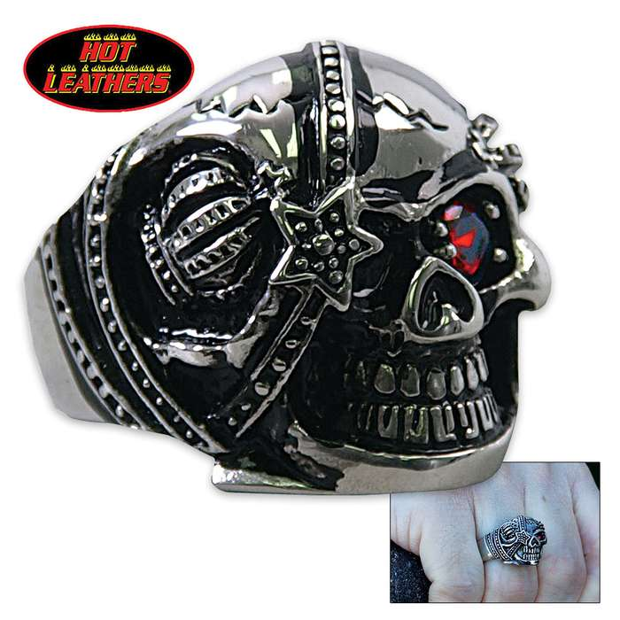 Hot Leathers Eye Patch Skull Ring Silver