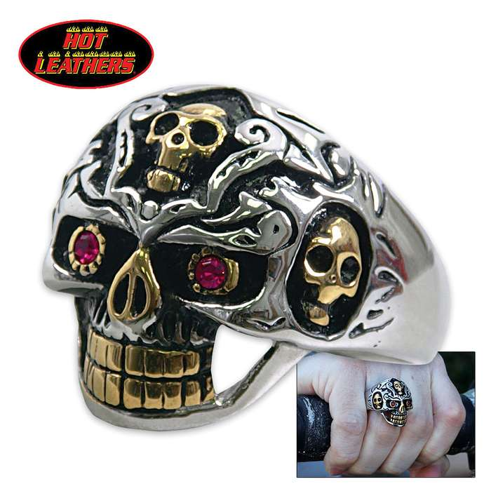 Hot Leathers Holy Toledo Skull Ring Silver