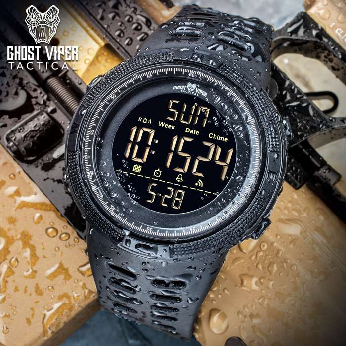 Ghost Viper Tactical Digital Water-Resistant Watch - Comfortable PU Resin Band, Hard PC And Stainless Steel Case, Clear Resin Glass