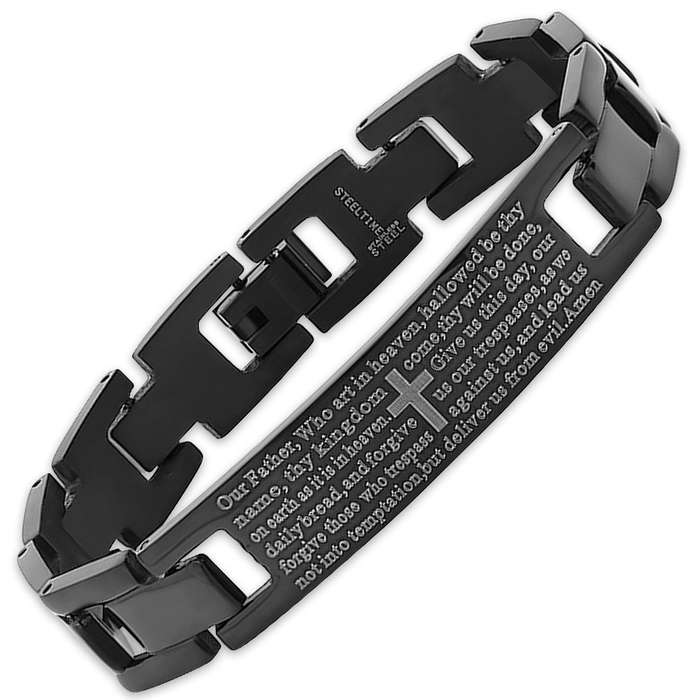 Black IP Stainless Steel Prayer Bracelet