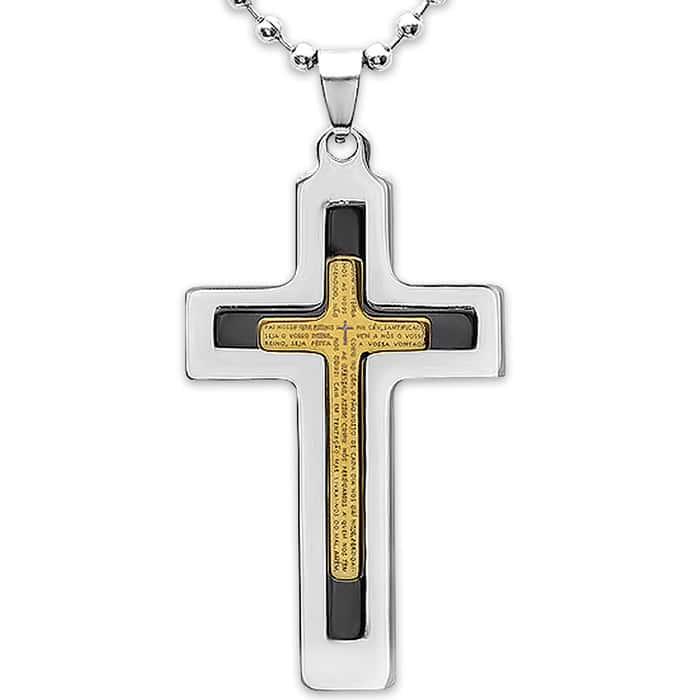 Men's Two-Tone Stainless Steel Cross Prayer Pendant