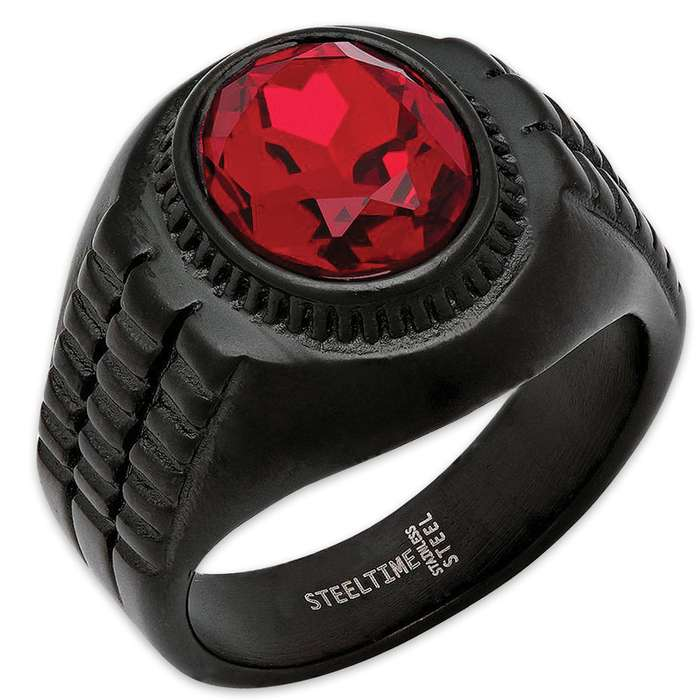 Men's Black Stainless Steel Ring With Crimson Red Jewel Inset