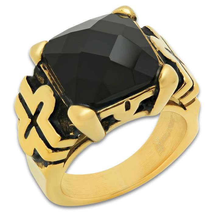 Black Jewel / Crystal Men's Ring - 18k Gold Plated Stainless Steel