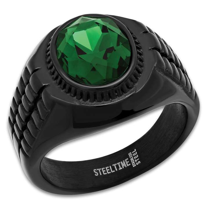 Men's Black Stainless Steel Ring With Emerald Green Jewel Inset - Lifetime Of Wear, Highly Detailed, High-Quality