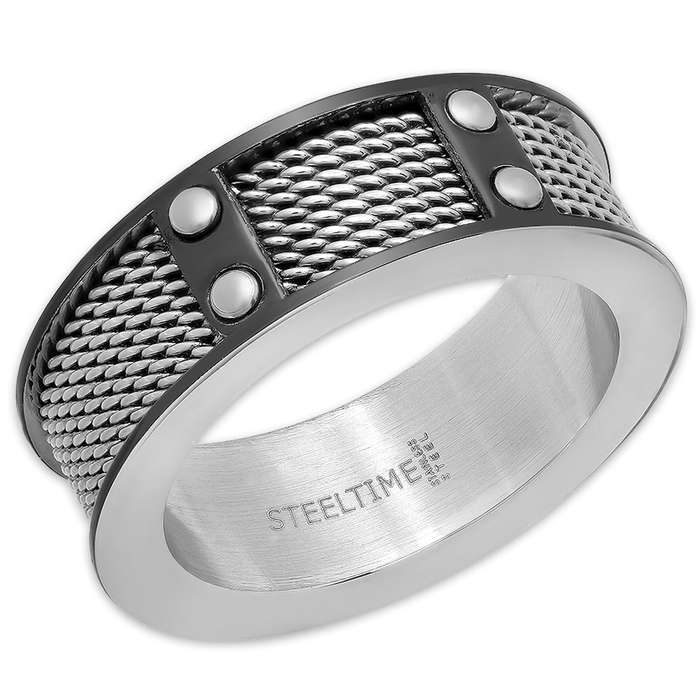 Men's Stainless Steel Ring With Mesh Inlays
