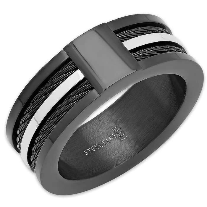 Men's Black Stainless Steel Ring WIth Cable Accent