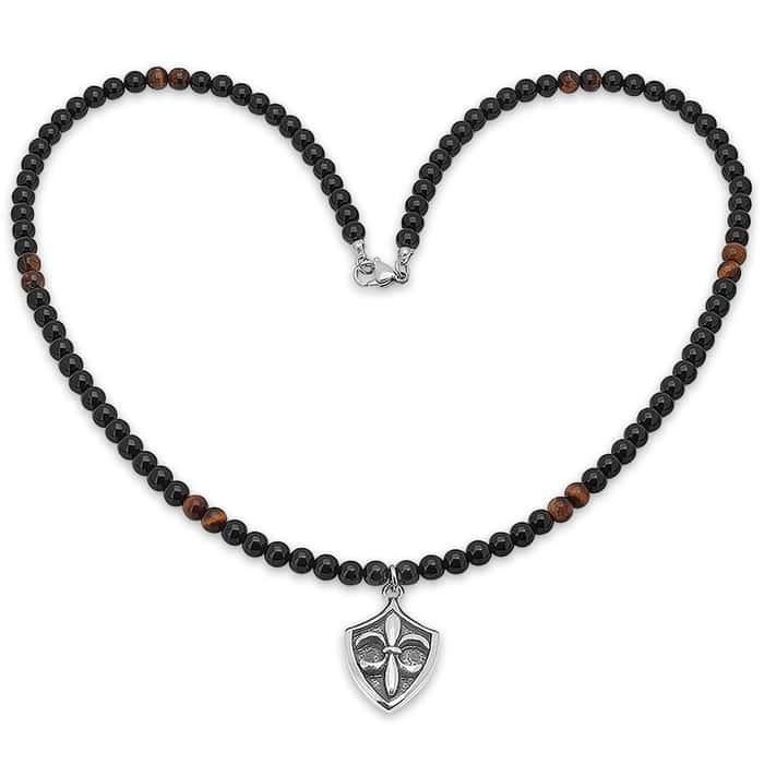 Stainless Steel Fleur De Lis Pendant on Tiger Eye, Lava Bead Necklace