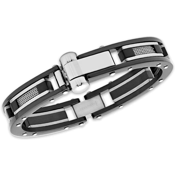 Men's Stainless Steel Bracelet - Wire Accents Inside Riveted Black Frame