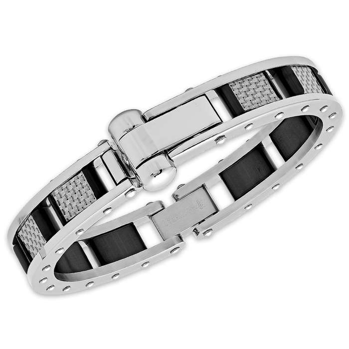 Men's Bracelet - Black Carbon Fiber Accents Inside Riveted Stainless Steel Frame