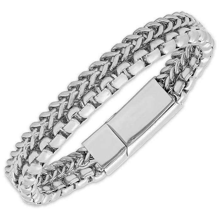 Men's Stainless Steel Contrasting Chain Link Bracelet
