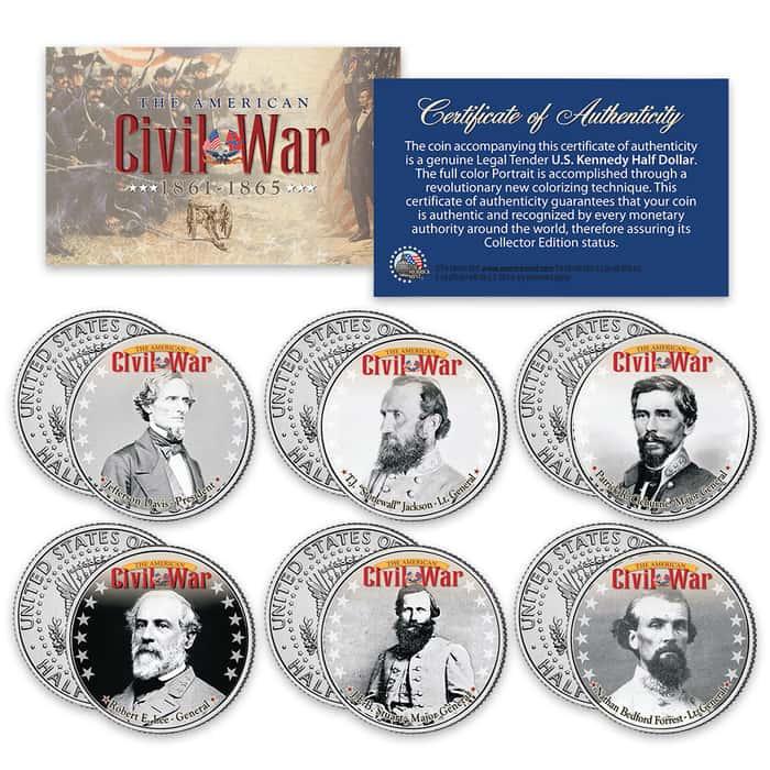 "Civil War ""Confederate"" JFK Half Dollars - Set Of Six"