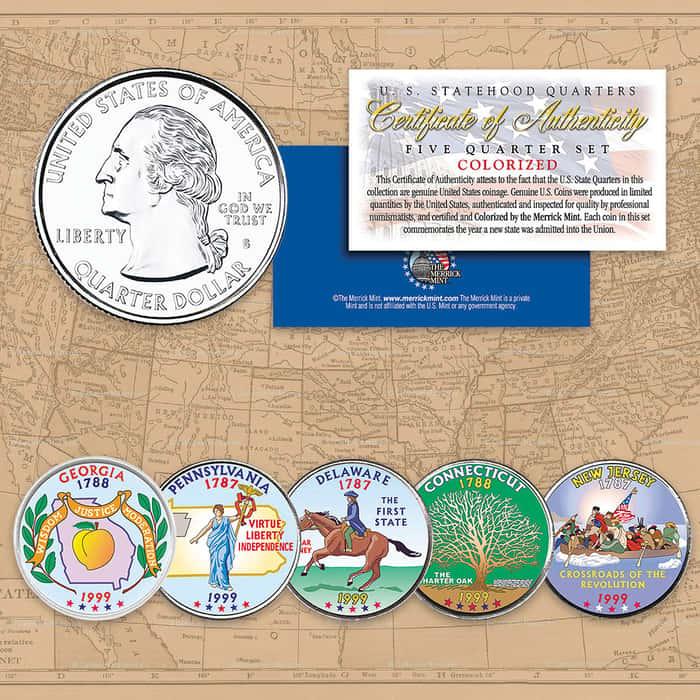 1999 Colorized Statehood Quarters - Set of Five