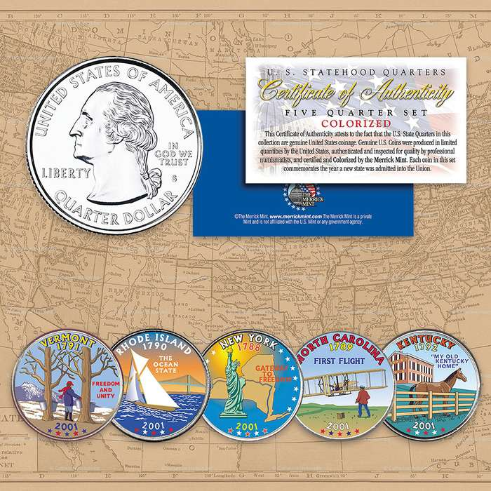 2001 Colorized Statehood Quarters - Set of Five
