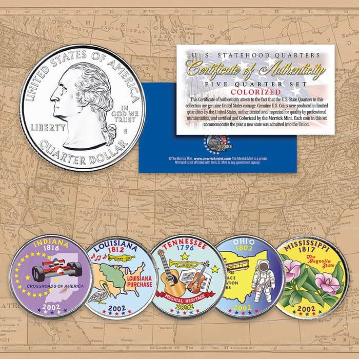 2002 Colorized Statehood Quarters - Set of Five