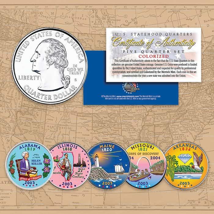 2003 Colorized Statehood Quarters - Set of Five