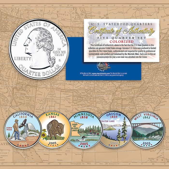 2005 Colorized Statehood Quarters - Set of Five