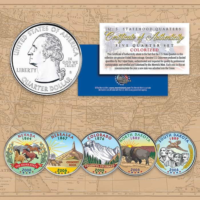 2006 Colorized Statehood Quarters - Set of Five