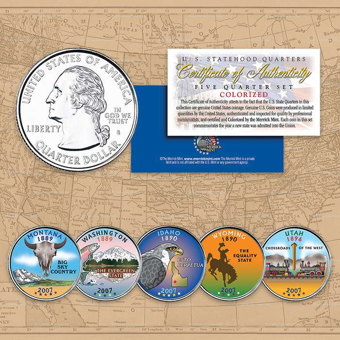2007 Colorized Statehood Quarters - Set of Five