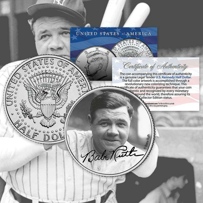 Babe Ruth Portrait JFK Half Dollar
