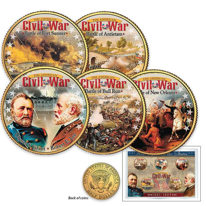 Civil War Battles Five Gold Half Dollars Set