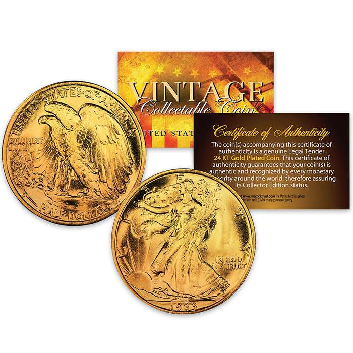 1930s Walking Liberty Silver Half Dollar - 24k Gold Plated