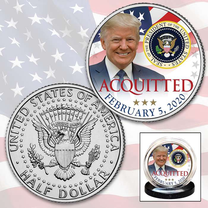 Trump Acquitted JFK Half Dollar - Collectible Legal US Tender, Colorized Process, Protective Capsule Included