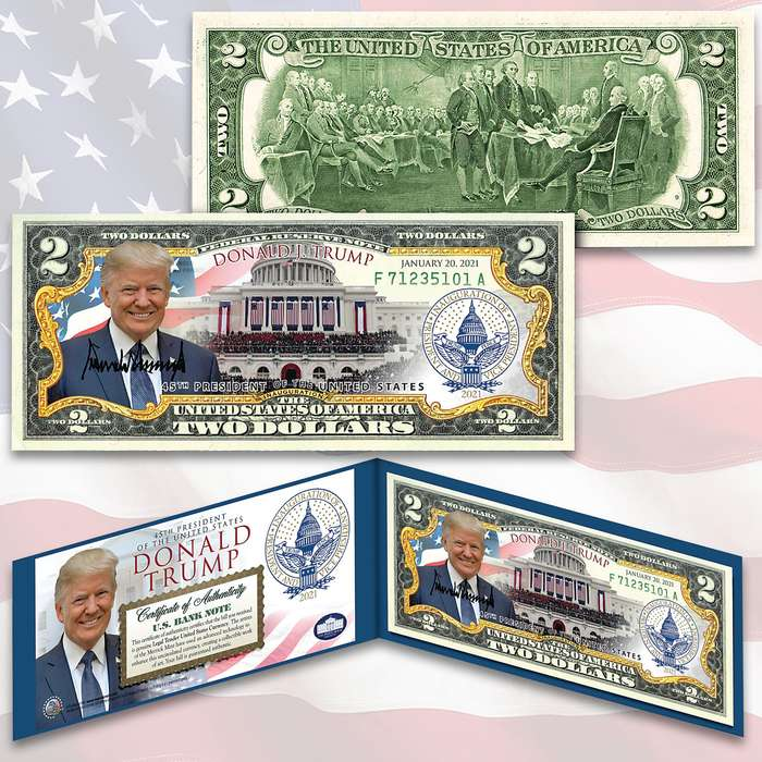 Trump 2021 Inauguration 2 Bill - Legal US Tender, Colorized Images, Uncirculated, Display Folio, Certificate Of Authenticity