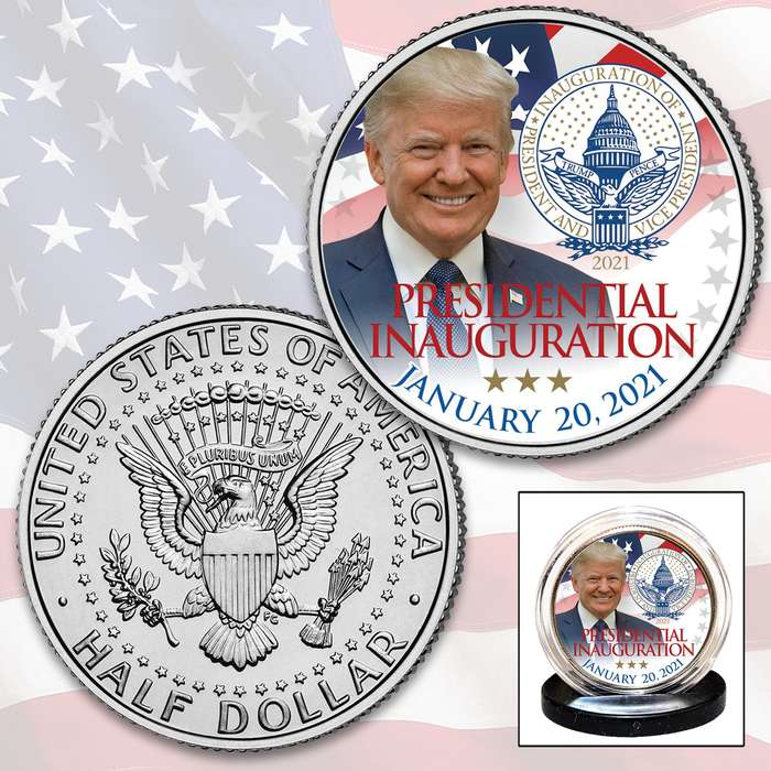 Trump 2021 Inauguration JFK Coin - Collectible Legal US Tender, Colorized Process, Protective Capsule Included