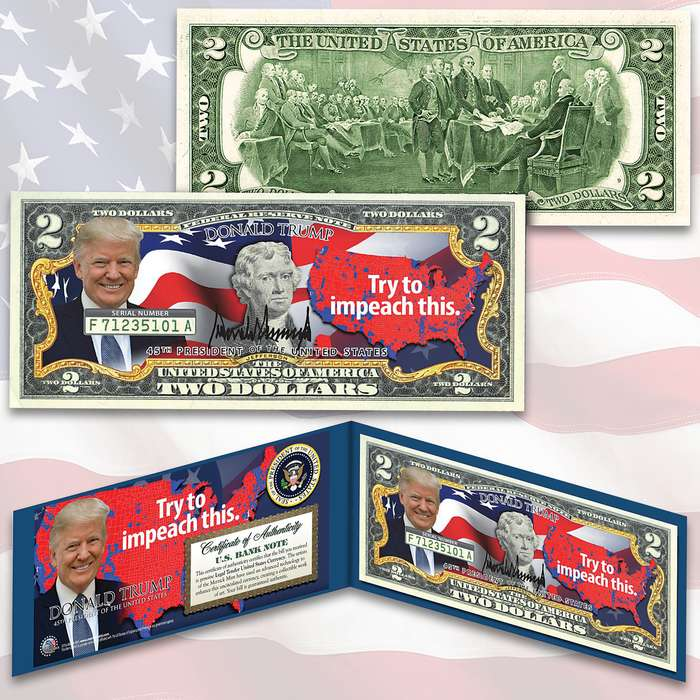 Trump Impeachment 2 Bill - Legal US Tender, Colorized Images, Uncirculated, Display Folio, Certificate Of Authenticity