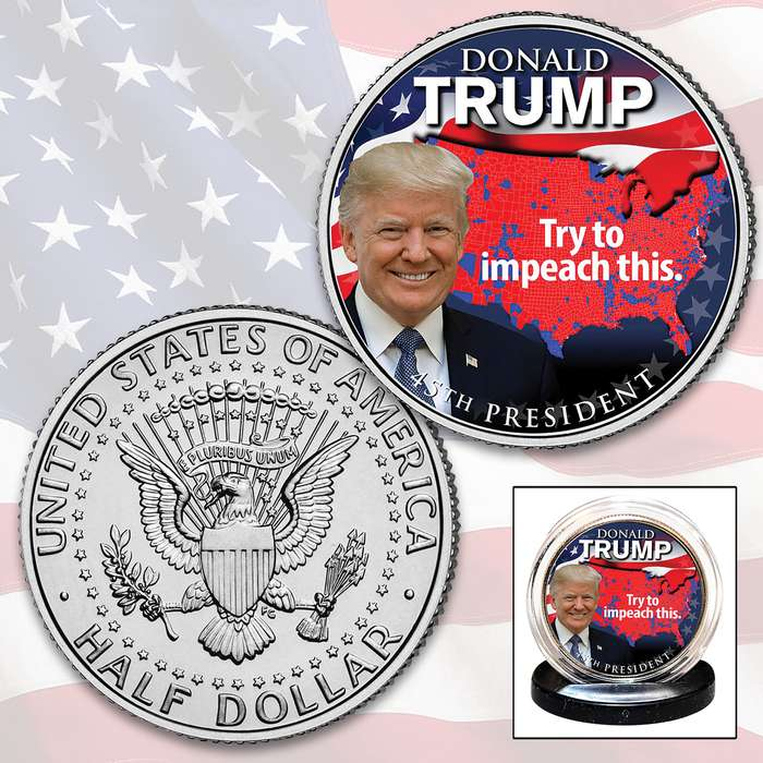 Trump Impeachment JFK Half Dollar - Collectible Legal US Tender, Colorized Process, Protective Capsule Included