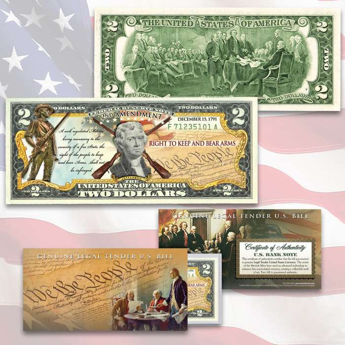 This Second Amendment Right To Bear Arms uncirculated two-dollar bill is genuine legal tender of the United States, enhanced with beautiful, colorized Second Amendment themed images