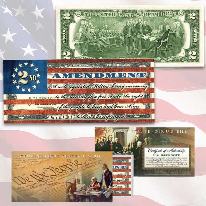 This Second Amendment Flag uncirculated two-dollar bill is genuine legal tender of the United States, enhanced with a beautiful colorized image of the American Flag