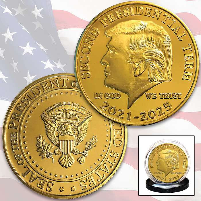 Here is your chance to collect the Donald Trump Second Term Tribute Coin, designed in the style of the classic John F. Kennedy, Jr. Half Dollar and fully plated in genuine 24K gold