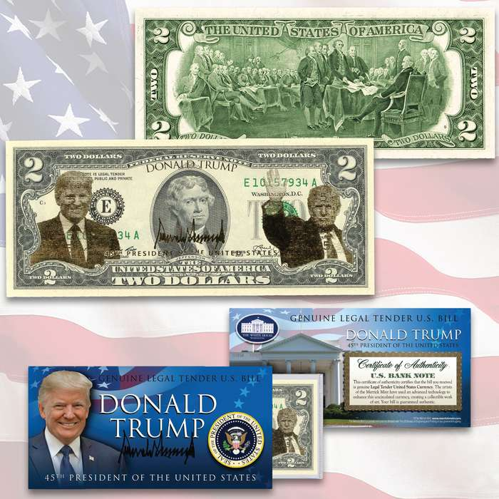 This Donald Trump uncirculated two-dollar bill is genuine legal tender of the United States, enhanced with colorized images of President Trump