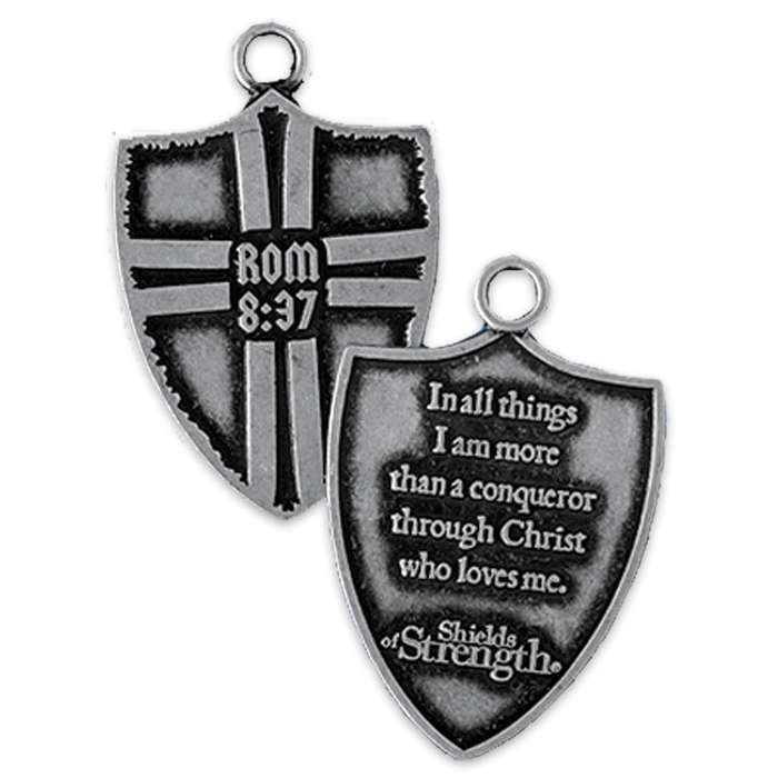 Shields of Strength Romans 8:37 Shield Dog Tag
