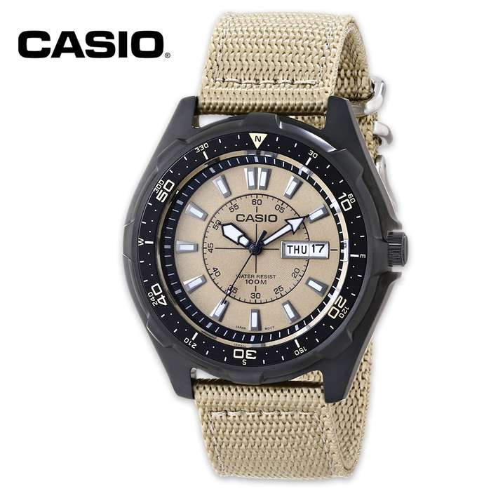 Casio Men's Dive Style Stainless Steel Watch - Tan Nylon Strap