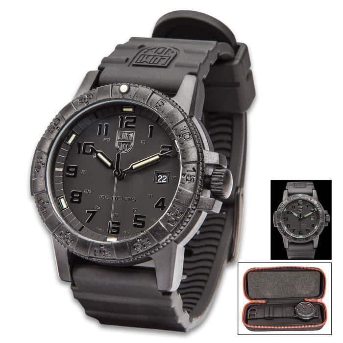 Luminox Sea Turtle Navy Seal Black Watch - Carbon Compound Case, Rubber Strap, Water-Resistant, Swiss Quartz Movement