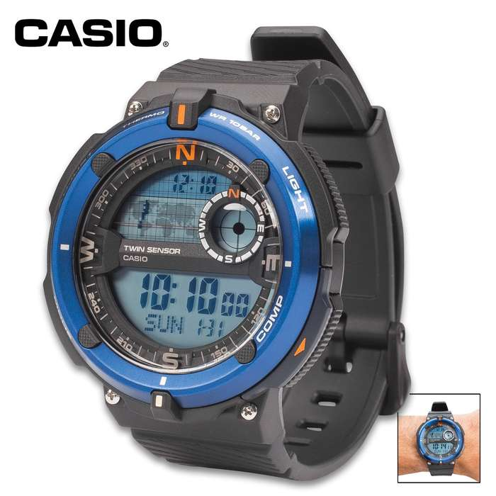 Core Sport Blue Bezel Watch - Digital Compass, Thermometer, Water-Resistance 100 m, TPR Band, EL Backlight