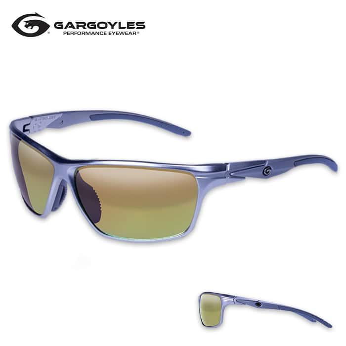 Gargoyles Zulu Polarized Matte Silver Sunglasses - Orange Lens