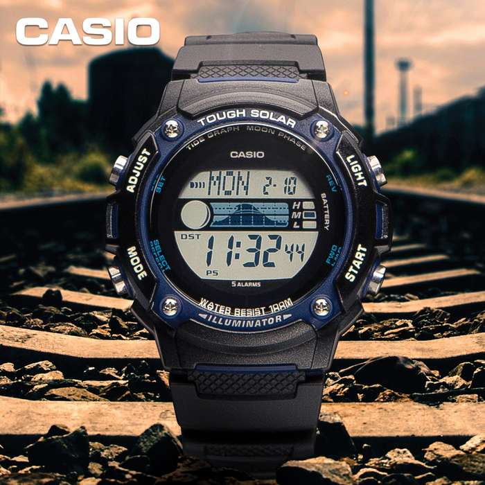 Casio Tough Solar Watch - Self Charging Solar Power System, Tide And Moon Data, World Time, LED Illumination, Water-Resistant