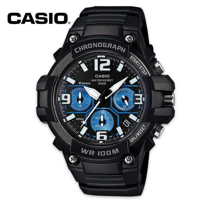 Casio Chrono Black And Blue Analog