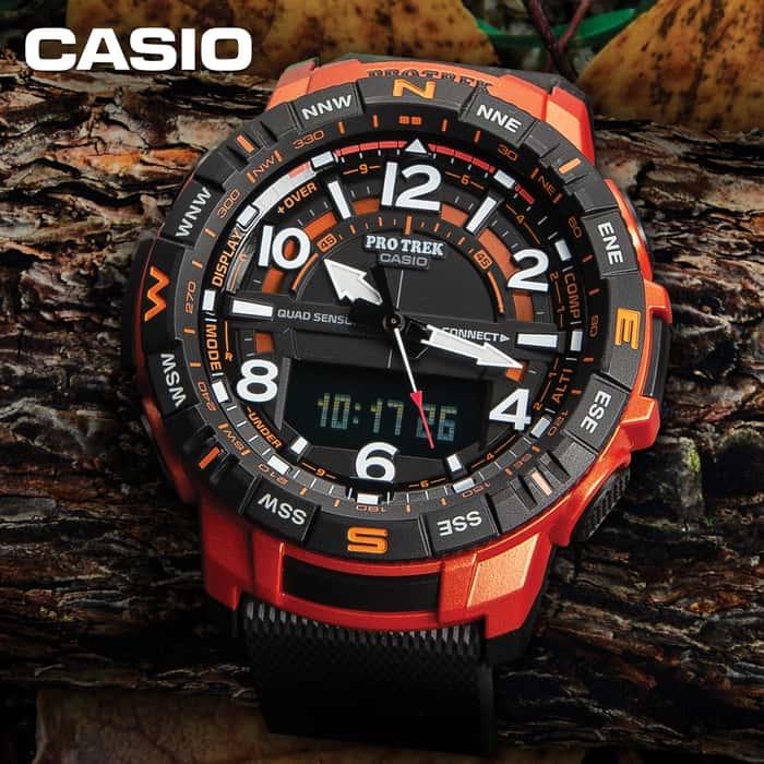 Casio Pro Trek Quad Sensor With Bluetooth - Thermometer, Compass, Barometer, Altimeter, Low-Temperature Resistance